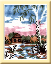 April - Cross Stitch Kit with Color Symbolic Scheme