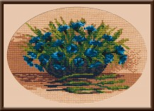 Cornflowers In The Basket - Counted Cross Stitch Kit with Color Symbolic Scheme