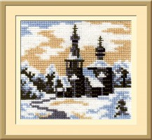Landscape In The Oval - Counted Cross Stitch Kit with Color Symbolic Scheme