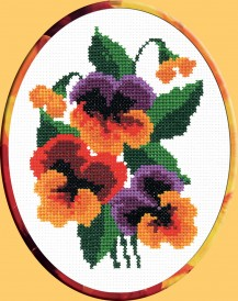 Pansy - Cross Stitch Kit with Color Symbolic Scheme