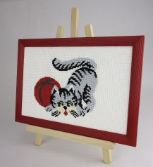 Gray Cat - Counted Cross Stitch Kit with Color Symbolic Scheme
