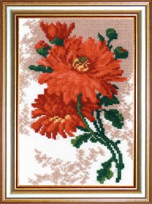 Chrysanthemum - Counted Cross Stitch Kit with Color Symbolic Scheme