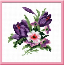 Crocuses - Stamped Cross Stitch Kit with Water Soluble Color Scheme