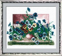 Pansies In A Pot - Counted Cross Stitch Kit with Color Symbolic Scheme