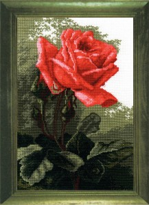 Pink Rose - Cross Stitch Kit with Color Symbolic Scheme