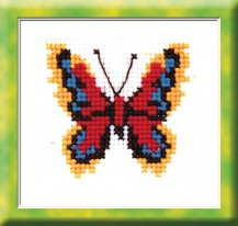 Red-and-yellow Butterfly - Counted Cross Stitch Kit with Color Symbolic Scheme