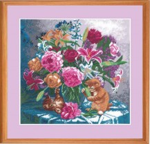 Kittens With A Bouquet - Counted Cross Stitch Kit with Color Symbolic Scheme