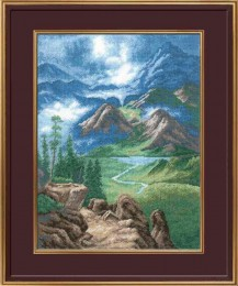Mountains - Counted Cross Stitch Kit with Color Symbolic Scheme