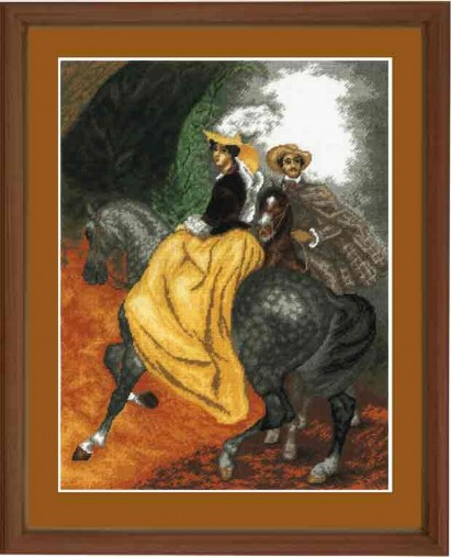 Riders - Counted Cross Stitch Kit with Color Symbolic Scheme