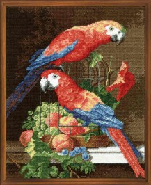Parrots - Cross Stitch Kit with Color Symbolic Scheme