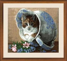 Cat In A Jar - Cross Stitch Kit with Color Symbolic Scheme