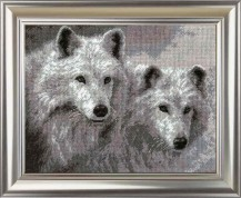 White Wolfs - Cross Stitch Kit with Color Symbolic Scheme