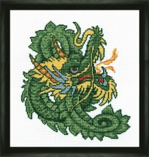 Green Dragon - Counted Cross Stitch Kit with Color Symbolic Scheme
