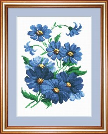 Blue Flowers - Counted Cross Stitch Kit with Color Symbolic Scheme
