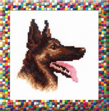 German Sheppard  - Cross Stitch Kit with Color Symbolic Scheme