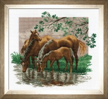 At The Waterhole - Cross Stitch Kit with Color Symbolic Scheme