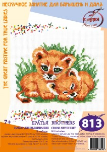 Cubs - Cross Stitch Kit with Water Soluble Color Scheme Printed on Canvas