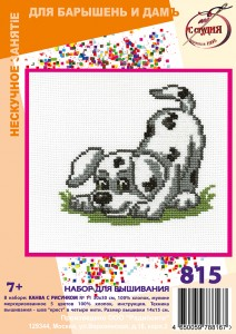 Dalmatian - Cross Stitch Kit with Water Soluble Color Scheme Printed on Canvas