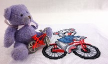 Bear On A Bicycle - Stamped Cross Stitch Kit with Water Soluble Color Scheme