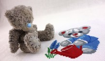 Bear With Watering - Сross Stitch Kit with Water Soluble Printed Canvas