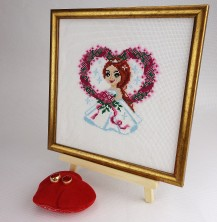 Bride - Stamped Cross Stitch Kit with Water Soluble Color Scheme