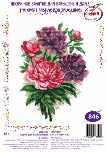 Peonies - Counted Cross Stitch Kit with Color Symbolic Scheme