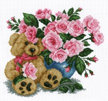 Bear With A Bouquet - Stamped Cross Stitch Kit with Water Soluble Color Scheme