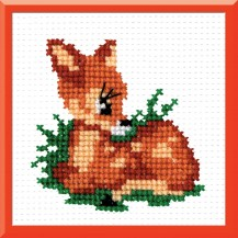Bambi - Stamped Cross Stitch Kit with Water Soluble Color Scheme